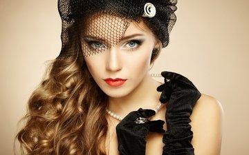 девушка, взгляд, кудри, руки, украшение, жемчуг, перчатки