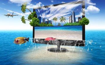 природа, телевизор, монитор, океан, экран, k