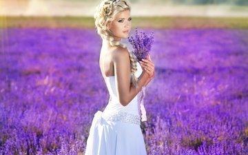 природа, девушка, взгляд, волосы, руки, коса, макияж, белое платье