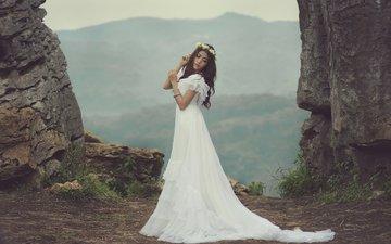 девушка, платье, свадьба, азиатских, венок из цветов