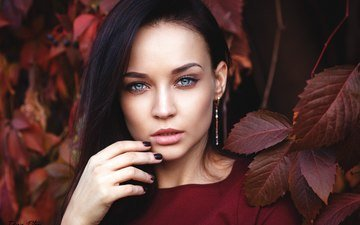 листья, девушка, брюнетка, взгляд, осень, красавица, лицо, одежда, макияж, красное, сёрьги, красивая, симпатичная, маникюр, прикосновение, голубоглазая, очаровательная, украинка, ангелина петрова, denis petrov, сексапильная