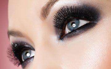 глаза, девушка, взгляд, макияж, тени, ресницы, брови
