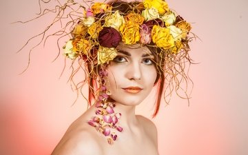 flowers, girl, petals, look, makeup, wreath, twigs