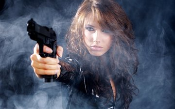 girl, weapons, gun, look, smoke, hair, makeup