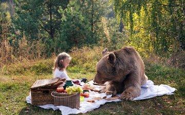 nature, bear, girl, picnic, masha and the bear