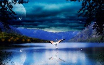 небо, деревья, вода, река, горы, скалы, природа, листья, тучи, отражение, море, планеты, крылья, птица, аист
