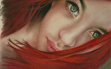 глаза, арт, девушка, взгляд, рыжая, зеленые, волосы, губы, лицо, живопись, шея