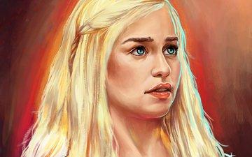 art, girl, painting, game of thrones, emilia clarke, daenerys targaryen