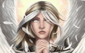 арт, взгляд, крылья, ангел, волосы, лицо, перья, руки, guardian angel