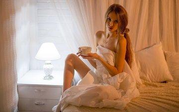 lamp, women, model, mug