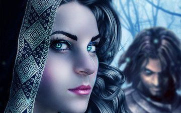 eyes, art, girl, background, look, curls, hair, lips, face, male, makeup, eyelashes