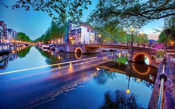 река, мост, город, нидерланды, амстердам, europen, etherlands