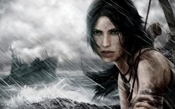 eyes, the sky, hand, wave, girl, sea, weapons, ship, look, bow, hair, the game, face, storm, lara croft, ponytail, tomb raider