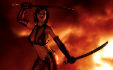 girl, background, weapons, pose, look, fire, rendering, hair, face, costume, gloves, samurai sword
