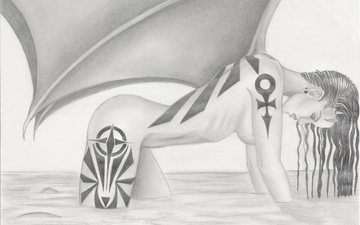 вода, девушка, крылья, демон, профиль, татуировки, тату, мокрые, волосы, лицо, живопись, тело, карандаш, фантатика