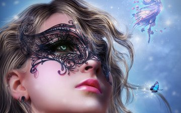 art, girl, mask, look, butterfly, wings, fairy, curls, hair, lips, face, black