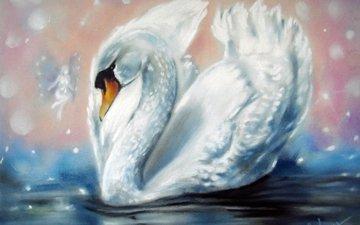 вода, крылья, белый, фея, живопись, лебедь