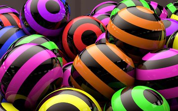 strip, colorful, balls, rendering, 3d