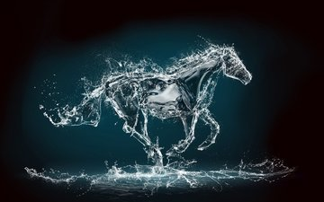 horse, water, background, squirt, rendering, jump