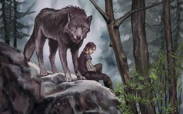 art, trees, forest, leaves, predator, animal, painting, wolf, game of thrones, arya stark, nymeria