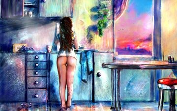 the sky, girl, grapes, food, table, ass, chair, kitchen, tattoo, back, legs, window, painting, long hair