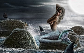 the sky, water, stones, clouds, girl, sea, fiction, ship, hair, face, hands, tail, mermaid