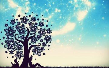 небо, трава, дерево, звезды, девочка, мальчик, книга, цветочки, сидят