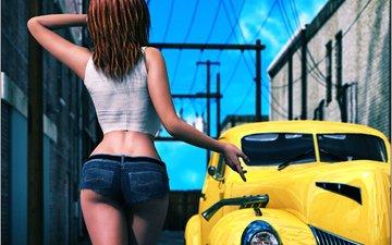 девушка, машина, попа, рендеринг, спина, волосы, здания, руки, майка, шорты