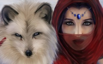 eyes, art, girl, look, animal, decoration, red scarf