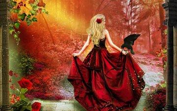 flowers, art, trees, leaves, girl, blonde, rose, red, bird, back, hair, raven, train, red dress, corset