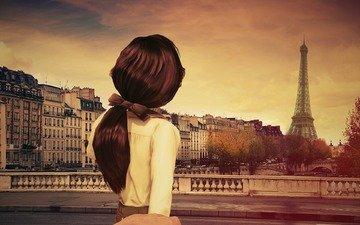 девушка, париж, спина, волосы, игра, хвостик, bioshock infinite, элизабет