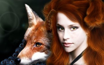 eyes, girl, fiction, look, fox, hair, face, berries, animal, freckles, red