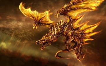 арт, фантастика, дракон, огонь, крылья
