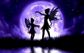 the sky, grass, clouds, night, water, lake, girl, stars, the moon, wings, child, fairies