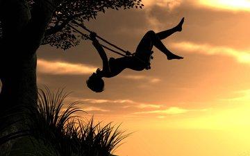 небо, дерево, закат, девушка, рендеринг, качели