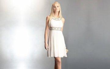 девушка, позирует, блондиночка, в платье