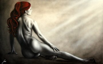 девушка, фон, поза, красные, профиль, ноги, спина, волосы, лицо, руки, живопись, изгибы, тело