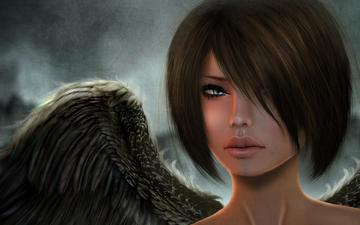 girl, look, wings, rendering, angel, face, 3d