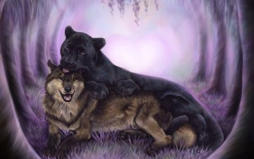art, animals, panther, black, predators, friendship, wolf