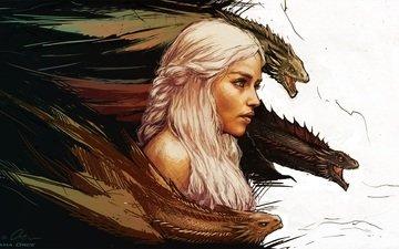 art, game of thrones, mother of dragons, daenerys targaryen