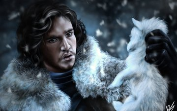 art, guy, face, painting, game of thrones, the cub, watch, jon snow