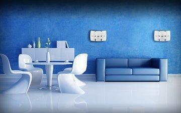 интерьер, гостиная, синяя комната, белая мебель
