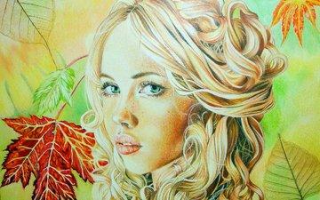 листья, девушка, блондинка, взгляд, осень, кудри, губы, лицо, зеленые глаза, живопись, christina papagianni