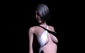 girl, look, rendering, chest, hair, black background, face, body, short