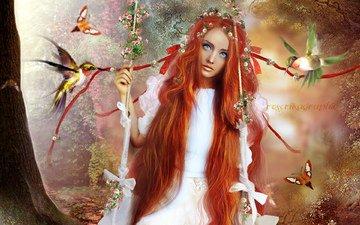 цветы, арт, деревья, девушка, взгляд, рыжая, птицы, волосы, лицо, бабочки, голубые глаза, качели, длинные