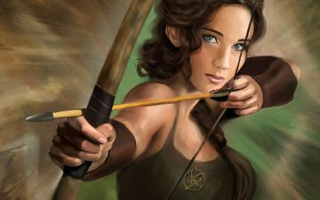 art, bow, arrow, katniss everdeen, jennifer lawrence, the hunger games