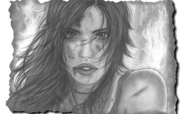 art, figure, girl, look, hair, lips, face, lara croft, tomb raider