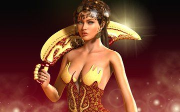 рука, листья, девушка, фон, оружие, взгляд, рендеринг, лицо, прическа, огоньки, принцесса, фантазии, david alejandro