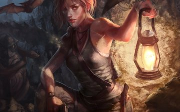 art, gun, look, lantern, face, mike, lara croft, bats, tomb raider
