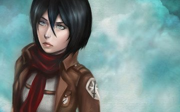 eyes, art, girl, background, look, anime, hair, face, manga, mikasa ackerman